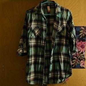 Teal plaid flannel shirt